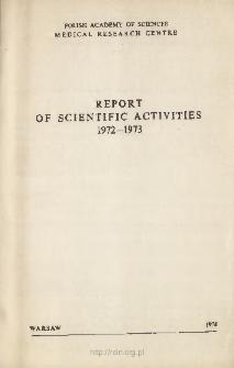 Report of Scientific Activities 1972 - 1973