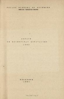 Report on Scientific Activities 1980