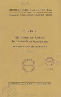 Ein Beitrag zur Kenntnis der Insektenfauna Ostpommerns: Netzflügler, Geradflügler und Holzläuse