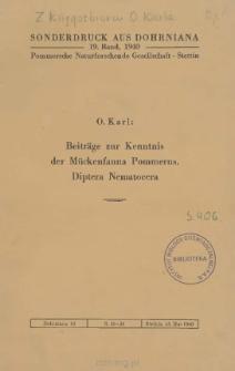 Beiträge zur Kenntnis der Mückenfauna Pommerns : Diptera Nematocera [Teil 3]