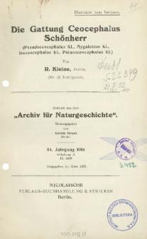 Die Gattung Ceocephalus Schönherr: Pseudoceocephalus Kl., Mygaleicus Kl., Isoceocephalus Kl., Palaeoceocephalus Kl.