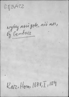 Kartoteka Słownika języka polskiego XVII i 1. połowy XVIII wieku; Gębacz - Gładki