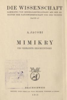 Mimikry und verwandte Erscheinungen