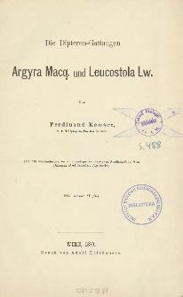 Die Dipteren-Gattungen Argyra Macq. und Leucostola Lw.