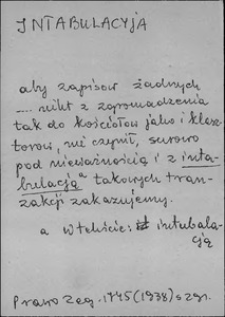 Kartoteka Słownika języka polskiego XVII i 1. połowy XVIII wieku; Intabulacja - Intrata