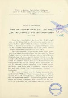 """Über die systematische stellung von """"Cyclops strenuus"""" aus den gebirgsseen = O stanowisku systematycznem """"Cyclops strenuus"""" z jezior górskich"""