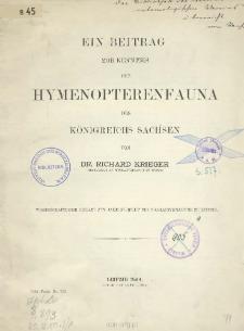 Ein Beitrag zur Kenntnis der Hymenopterenfauna des Königreichs Sachsen