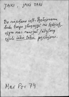 Kartoteka Słownika języka polskiego XVII i 1. połowy XVIII wieku; Jaki