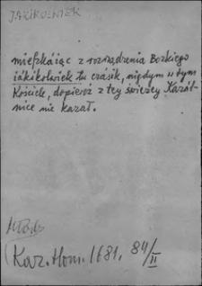 Kartoteka Słownika języka polskiego XVII i 1. połowy XVIII wieku; Jakikolwiek - Jakmiarz