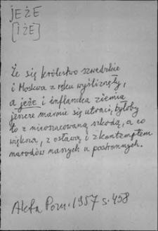 Kartoteka Słownika języka polskiego XVII i 1. połowy XVIII wieku; Jeże - Język