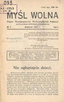 Myśl Wolna : organ Stow. Wolnomyślicieli Polskich, R. 1, Nr 8
