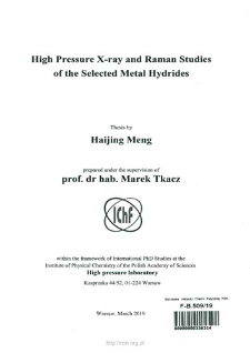 High pressure X-ray and Raman studies of the selected metal hydrides