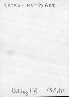 Kartoteka Słownika języka polskiego XVII i 1. połowy XVIII wieku; Kryks - Krzyzik