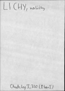 Kartoteka Słownika języka polskiego XVII i 1. połowy XVIII wieku; Lichy - Lis