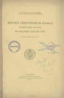 Species Oribatinarum (Oudnis.) (Damaeinarum Michael) in Galicia collectae