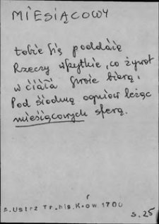 Kartoteka Słownika języka polskiego XVII i 1. połowy XVIII wieku; Miesiącowy - Mieszkanny