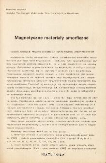 Magnetyczne materiały amorficzne = Amorphous magnetic materials