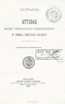 Attidae Musei zoologici Varsoviensis, in Siberia orientali collecti