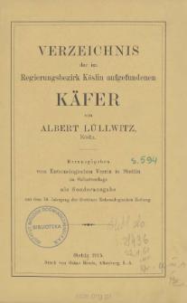 Verzeichnis der im Regierungsbezirk Köslin aufgefundenen Käfer