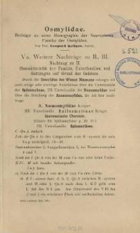 Osmy lidae: Beiträge zu einer Monographie der Neuropteren-Familie der Osmyliden. [5-7]