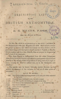 Descriptive list of the British Anthomyidae