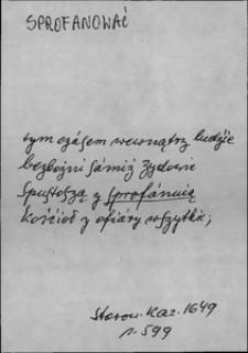 Kartoteka Słownika języka polskiego XVII i 1. połowy XVIII wieku; Sprofanować - Spyża