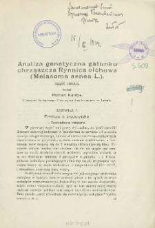 Analiza genetyczna gatunku chrząszcza Rynnica olchowa (Melasoma aenea L.). Część 2