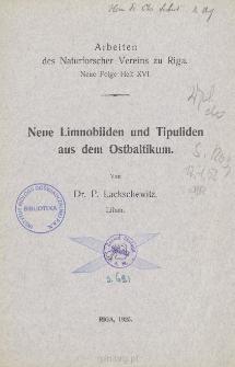 Neue Limnobiiden und TipuJiden aus dem Ostbaltikum