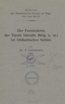 Der Formenkreis der Tipula lateralis Meig. (s. lat.) im Ostbaltischen Gebiet