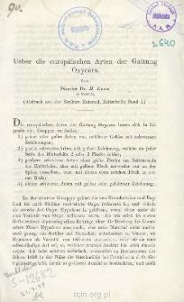 Ueber die europäischen Arten der Gattung Oxycera