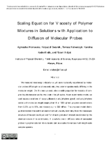 Scaling Equation for Viscosity of PolymerMixtures in Solutions with Application toDiffusion of Molecular Probes