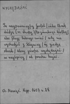 Kartoteka Słownika języka polskiego XVII i 1. połowy XVIII wieku; Wychędażać - Wyćwiczyć się