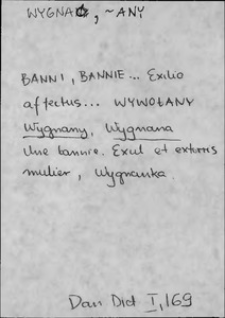 Kartoteka Słownika języka polskiego XVII i 1. połowy XVIII wieku; Wygnać - Wyjść1