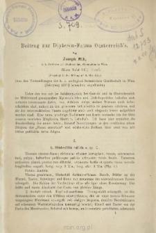 Beitrag zur Dipteren-Fauna Oesterreich's