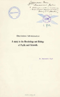 A study in the morphology and biology of Psylla mali Schmidb