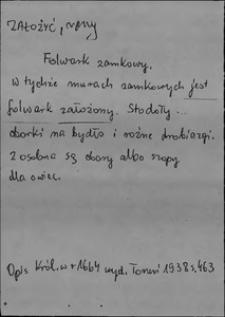 Kartoteka Słownika języka polskiego XVII i 1. połowy XVIII wieku; Założyć - Zamkowy