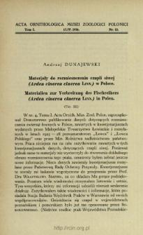 Materjały do rozmieszczenia czapli siwej (Ardea cinerea cinerea Linn.) w Polsce