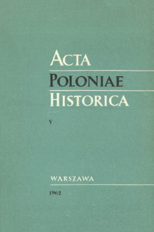 Acta Poloniae Historica T. 5 (1962), Title pages, Contents