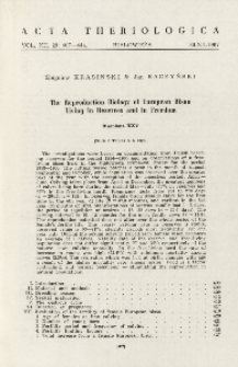 Bisoniana XXV. The reproduction biology of European bison living in reserves and in freedom