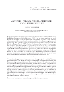 Are Polish Primary Care Practitioners Social Entrepreneurs?