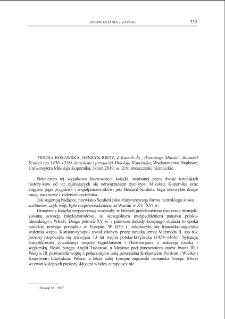 """Z Kaszub do """"Wiecznego Miasta"""". Bernard Sculteti (ca 1450–1518), kurialista i przyjaciel Mikołaja Kopernika, Teresa Borawska, Henryk Rietz, Toruń 2019 : [recenzja]"""