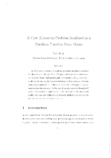 A Cost Allocation Problem Analyzed as a Partition Function Form Game