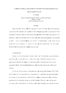 Computational Analysis of Cooperative Solutions in an Education System
