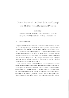 Generalization of the Nash Solution Concept to a Multicriteria Bargaining Problem