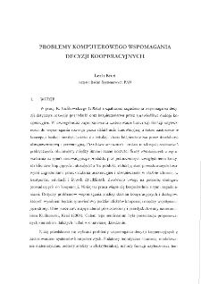 Problemy komputerowego wspomagania decyzji kooperacyjnych