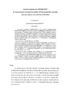 System komputerowy BIOREGION do wspomagania wariantowej analizy roli bioenergii jako czynnika rozwoju regionu oraz ochrony środowiska