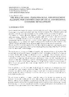 The Role of Long-Term Financial and Investment Planning for Construction of Local and Regional Economic Development