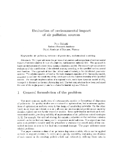 Evaluation of Environmental Impact of Air Pollution Sources