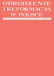 Odrodzenie i Reformacja w Polsce T. 63 (2019)