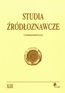 Studia Źródłoznawcze = Commentationes T. 43 (2005)